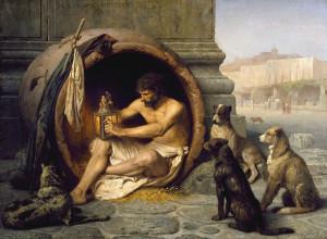 Diogenes in zijn amphora
